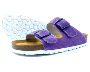 Thora 2-buckle Sandals | Lavender Italian Suede