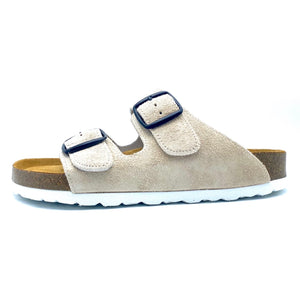 Thora 2-buckle Sandals | Beige Italian Suede