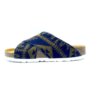 Una Cross-over Sandals | Navy Gold Wool