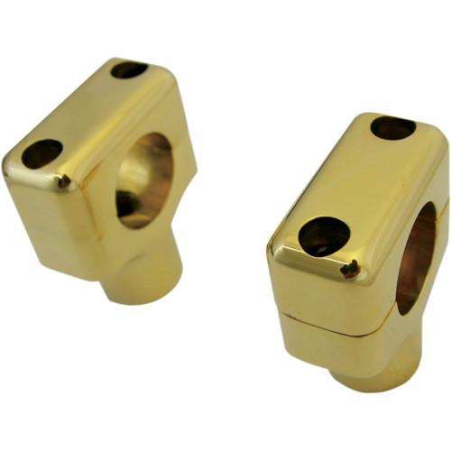 "LA CHOPPERS 1.5"" Shorty Polished Brass Risers for 1"" Handlebars Universal - Rocket Bobs Cycle Works"