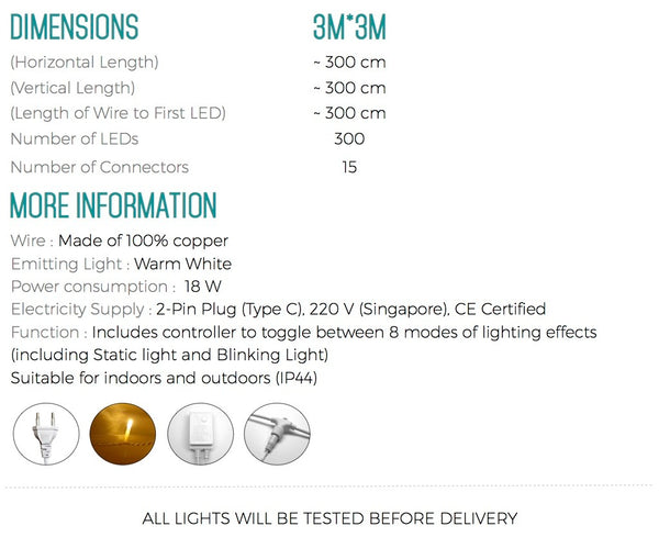 PD White Detachable Curtain Lights