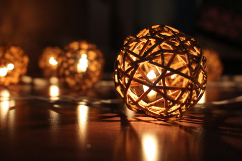 Lit up wood brown rattan ball fairy lights - in the dark