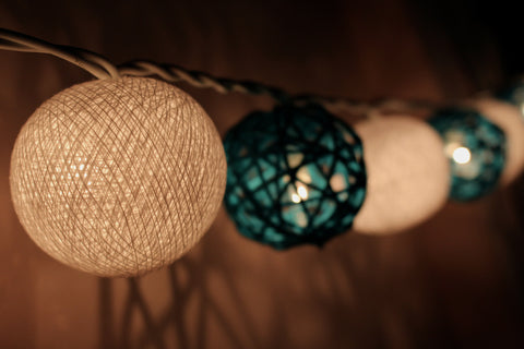 A thousand and one nights - Royal blue rattan balls and White cotton balls fairy lights (in the dark)