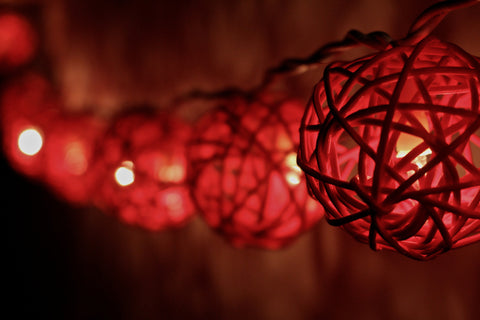 Lit up scarlet rattan ball fairy lights - hanging