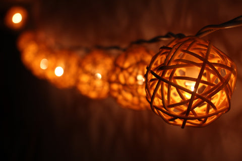 Lit up navy blue rattan ball fairy lights - hanging