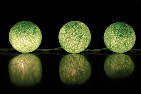 Beautiful lime green cotton ball Fairy Lights (reflective)