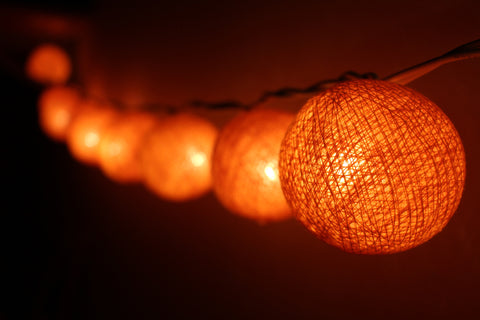 Beautiful orange cotton ball Fairy Lights (hanging)