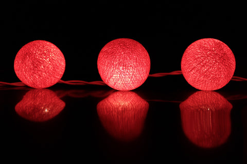 Beautiful hot pink cotton ball Fairy Lights (reflective)