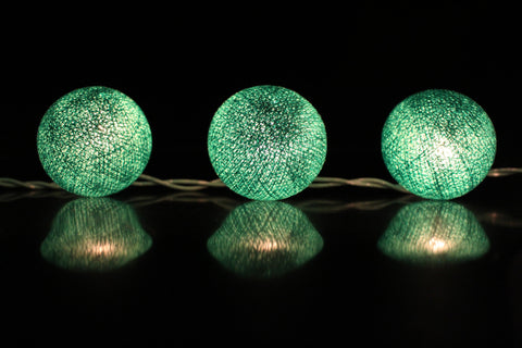 Beautiful moss green cotton ball Fairy Lights (reflective)