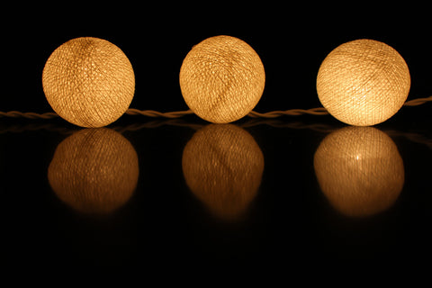 Beautiful Ivory cotton ball Fairy Lights (reflective)