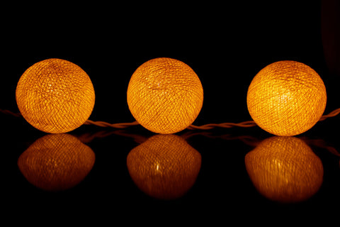Beautiful yellow cotton ball Fairy Lights (reflective)