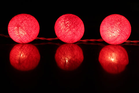 Beautiful scarlet cotton ball Fairy Lights (reflective)