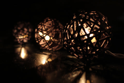 Lit up black rattan ball fairy lights - in the dark