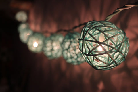 Lit up turquoise rattan ball fairy lights - hanging