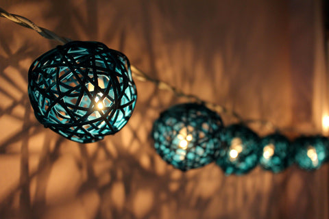 Lit up teal rattan ball fairy lights - hanging