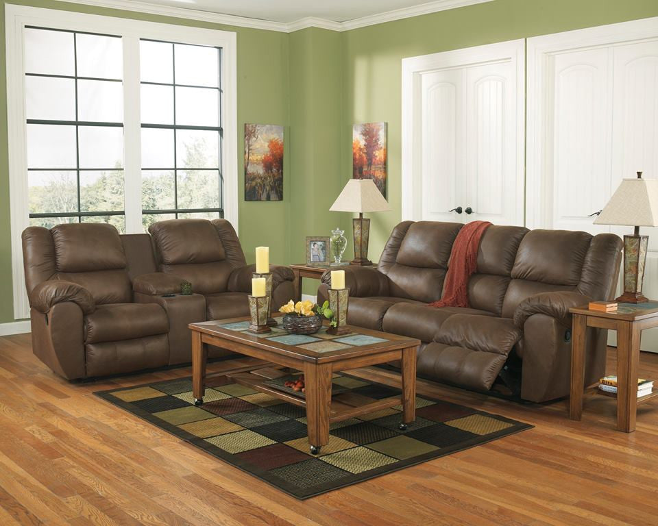ASHLEY 6 SEATER LEATHER RECLINER SOFA SET WITH CONSOLE (Model:3270125)