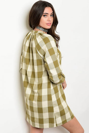Embroidered Plaid Shirt Dress