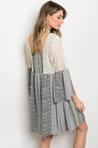 Sheer Bell Sleeve Tunic Dress