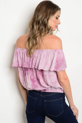 Off The Shoulder Tie Dye Cropped Top