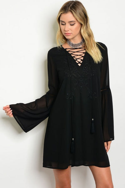 Sheer Embroidered Tunic Dress