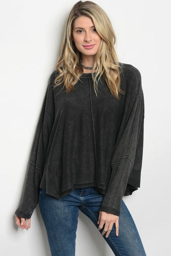Mineral Wash Sweater Knit Top