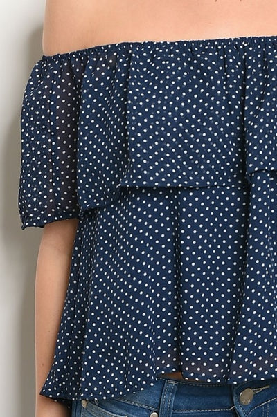 Off The Shoulder Polka Dot Cropped Blouse