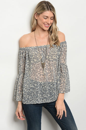 Sheer Off Shoulder Floral Blouse