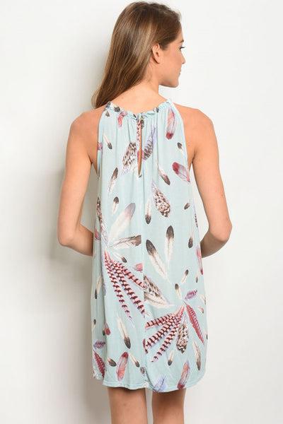 Feather Print Knit Dress