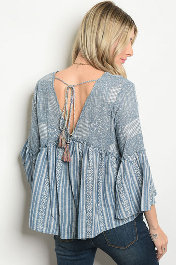 Chambray Bell Sleeve Blouse
