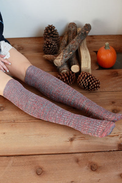 Knee High Ribbed Knit Socks