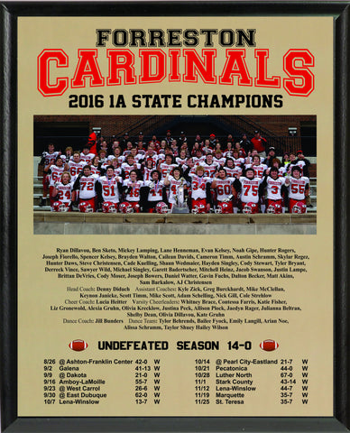 2016 State Football Commemorative Plaque