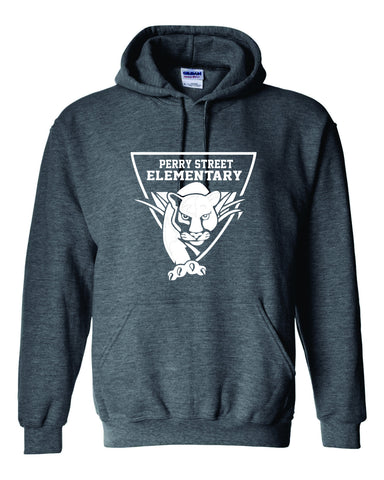 P04 Perry Dark Heather Hoodie with White Logo