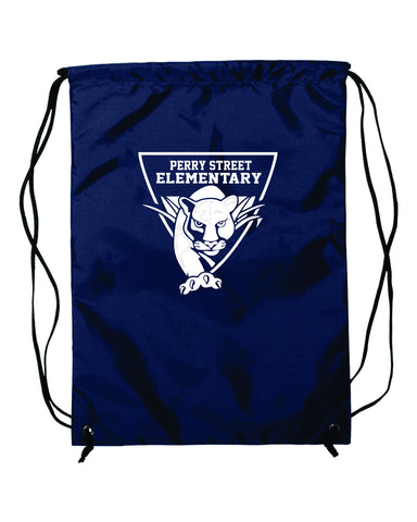 P06-Perry Navy Blue Drawstring Bag with White Logo