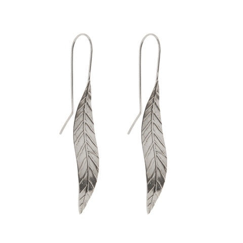 Short Leaf Earrings - Silver