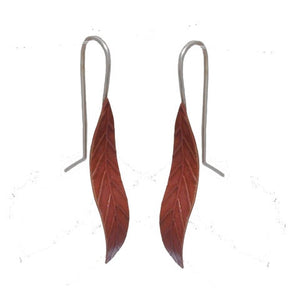 Short Leaf Earrings - Copper by Stone Arrow - Rata Jewellery