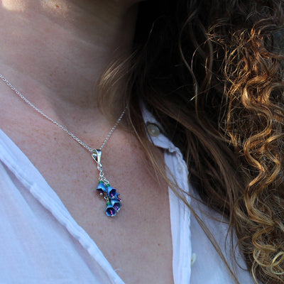 Blue Borage Flower Pendant by Adele Stewart - Rata Jewellery