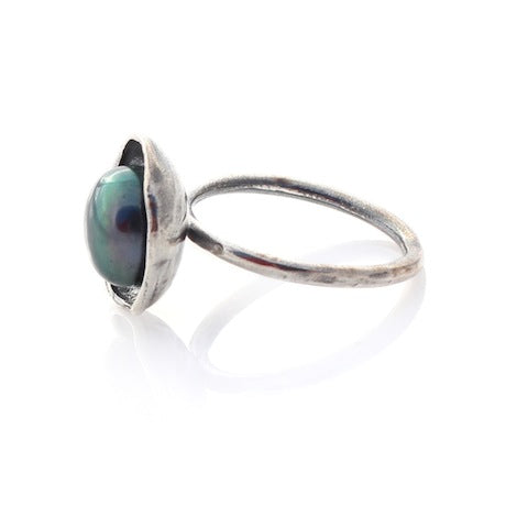 Pearl Cap Ring - Silver by Louise Douglas - Rata Jewellery