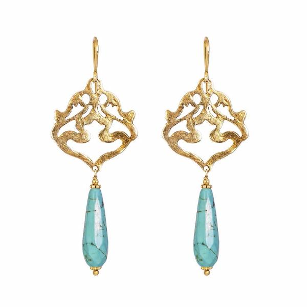Flamingo Earrings - Gold & Turquoise by Rock Finders Keepers - Rata Jewellery