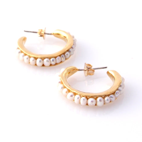 Sea Pod Hoops - Gold by Louise Douglas - Rata Jewellery