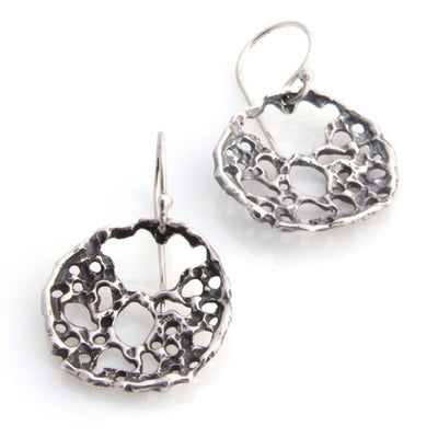 Lace Disc Earrings - Silver by Louise Douglas - Rata Jewellery