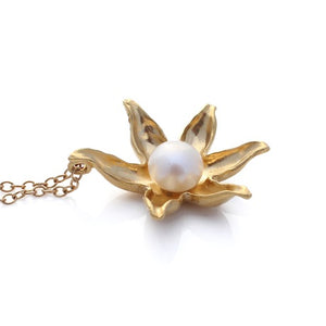 Lotus Necklace - Gold by Louise Douglas - Rata Jewellery