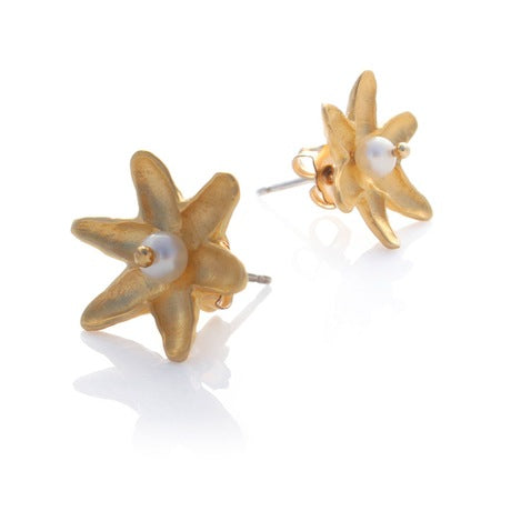 Lotus Studs - Gold by Louise Douglas - Rata Jewellery