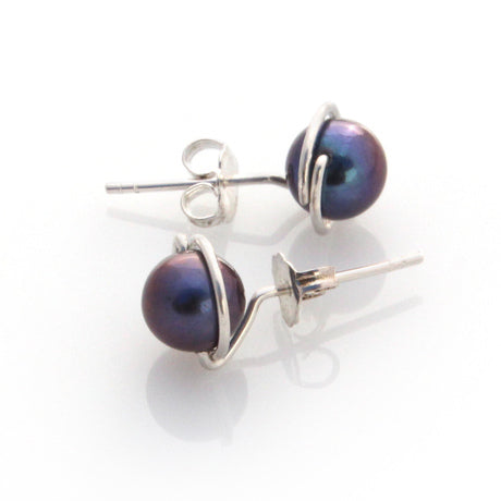 Lulu Studs - Peacock Pearls by Louise Douglas - Rata Jewellery