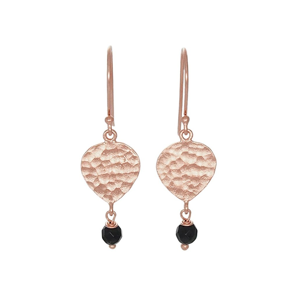 Maya Earrings - Rose Gold & Black Agate by Nicole Fendel - Rata Jewellery