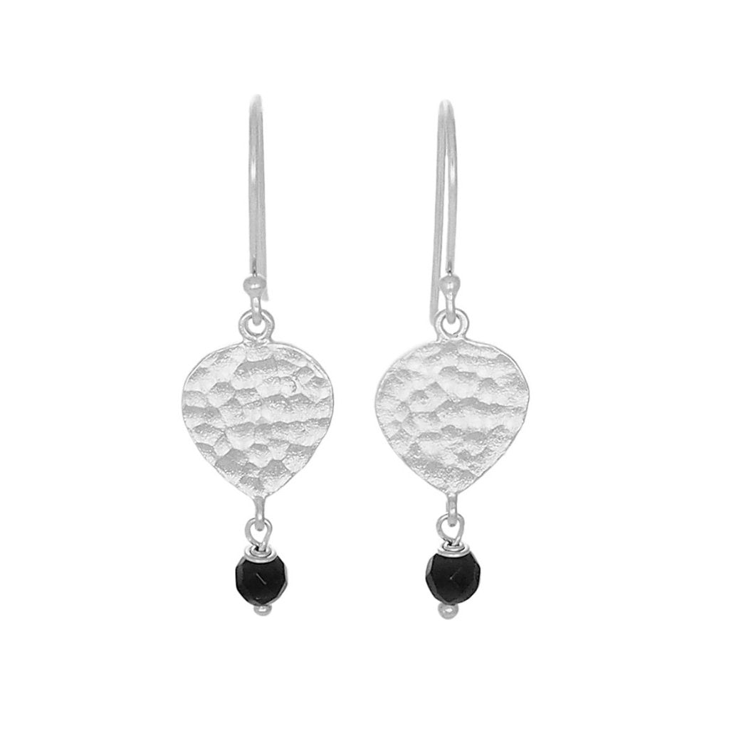 Maya Earrings - Silver & Black Agate