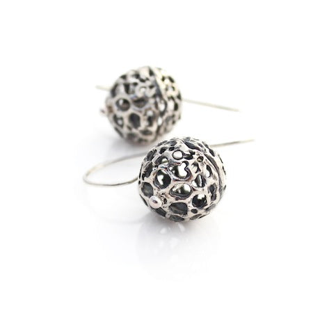 Sea Lace Pod Earrings - Silver by Louise Douglas - Rata Jewellery