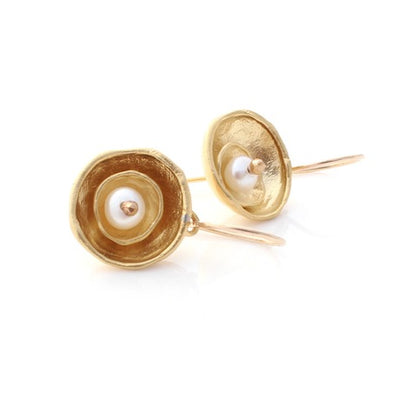 Cap Earrings - Gold by Louise Douglas - Rata Jewellery
