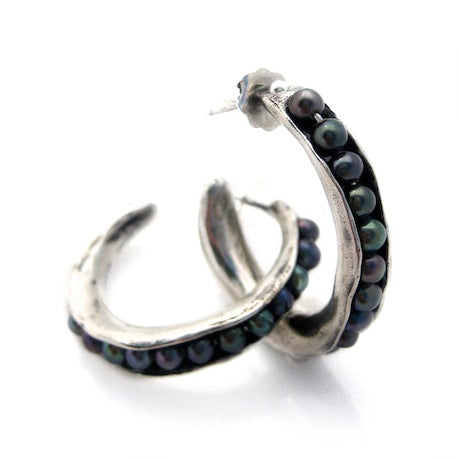 Sea Pod Hoops - Silver by Louise Douglas - Rata Jewellery