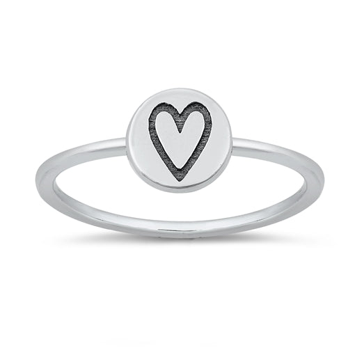Stamped Heart Ring