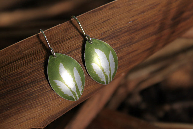 Toi Toi Earrings - Green by Jill Main - Rata Jewellery